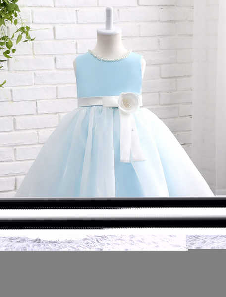Milanoo Pastel Blue Flower Girl Dress Pearl Jewel Neckline Flower Sash Sleeveless Princess Knee Length Toddlers Dinner Dress