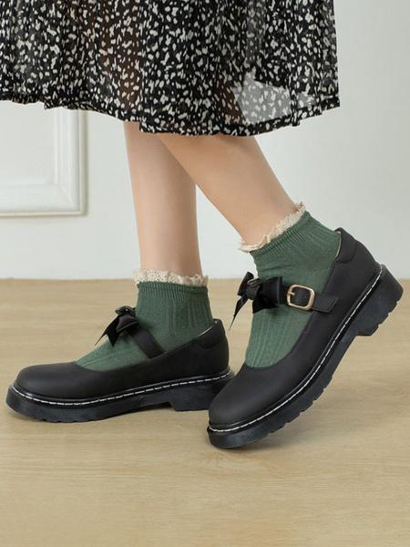 Milanoo Zapatos Lolita clasicos Zapatos planos Lolita de cuero PU de color marron oscuro