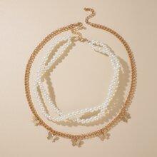 2pcs Faux Pearl Decor Necklace