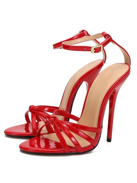 """Milanoo Sandalias de tiras sexy para mujer Tacon de aguja Rojo 5.1 """"Zapatos seductores de tacon alto"""