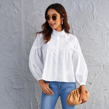 Frill Neck Eyelet Embroidered Blouse
