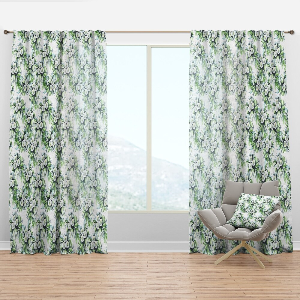 Designart 'Elegant White Roses Bridesmaid's Bouquet' Floral Curtain Panel (50 in. wide x 90 in. high - 1 Panel)