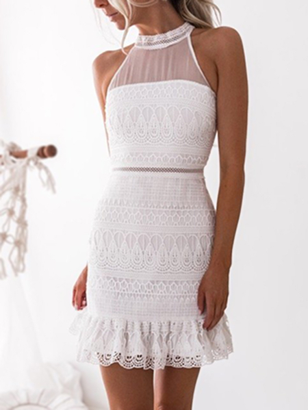 Yoins White Gorgeous Lace See-through Sleeveless Mini Dress