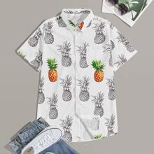 Camisa de hombres bajo curvo con estampado de piña