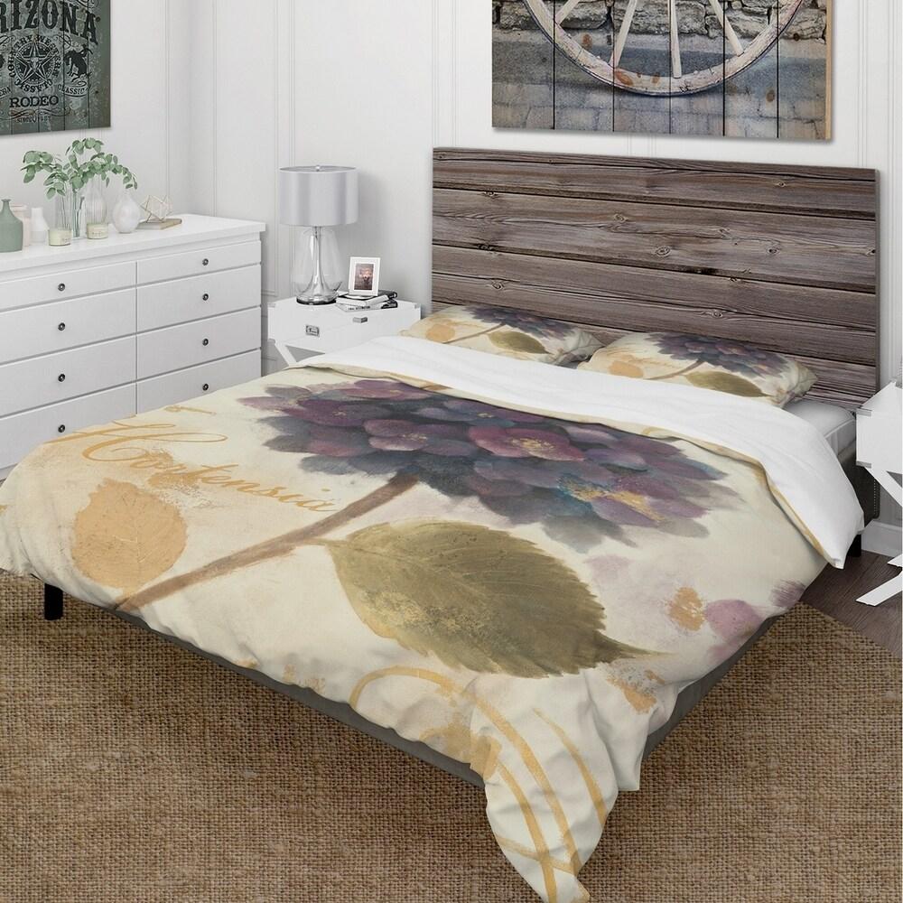 Designart 'Abundant Hydrangea Flower I' Cottage Bedding Set - Duvet Cover & Shams (Full/Queen Cover +2 Shams (comforter not included))