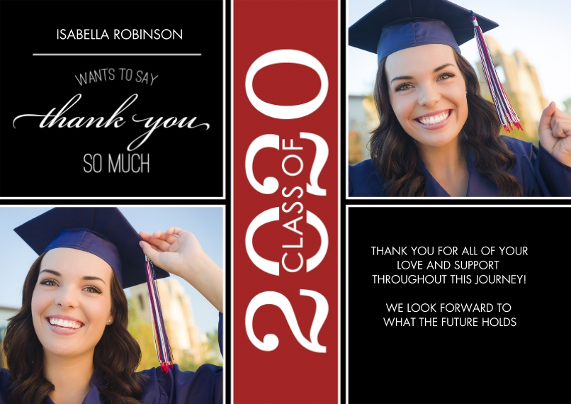 Graduation Thank You Cards 5x7 Cards, Premium Cardstock 120lb with Rounded Corners, Card & Stationery -Grad Thank You 2020 Class of by Tumbalina