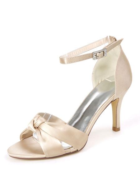 Milanoo Wedding Shoes Ivory Satin Buckle Open Toe Stiletto Heel Bridal Shoes