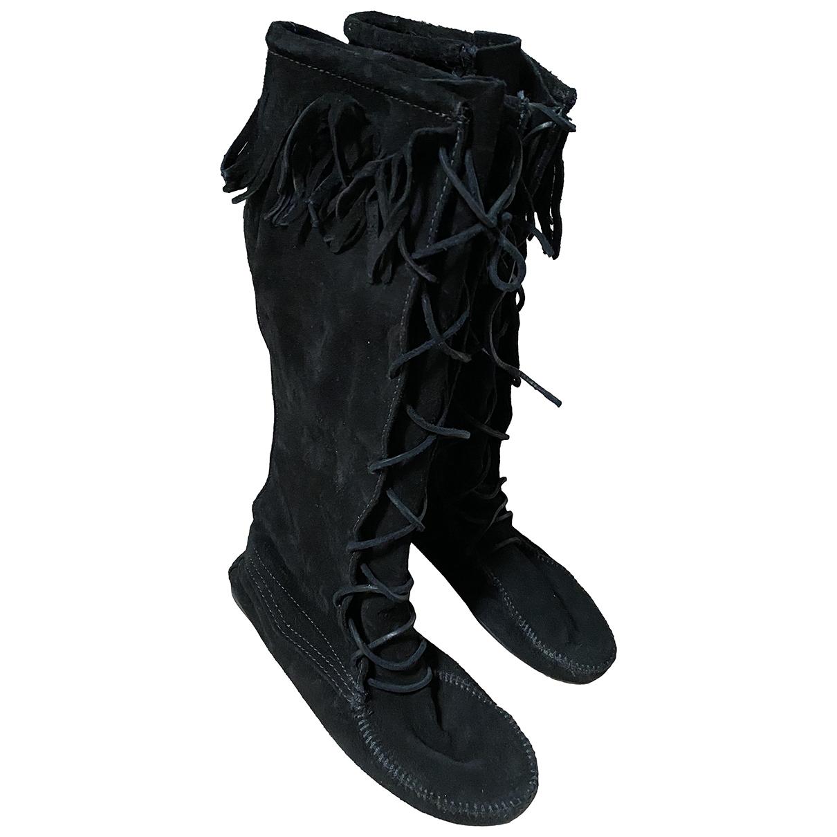 Minnetonka - Bottes   pour femme en suede - noir