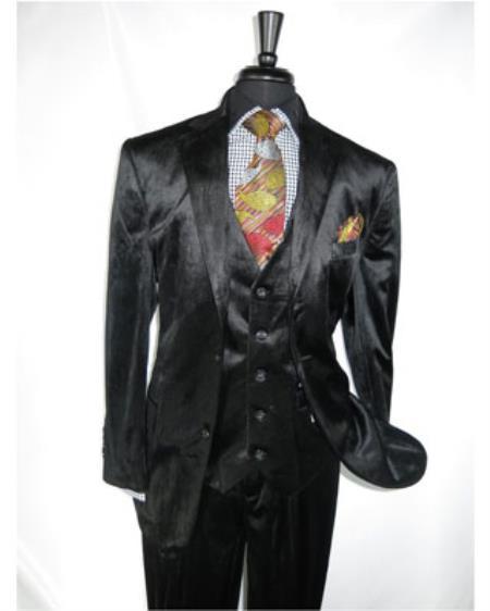 Mens Black 2 Button Velvet Fabric 3 Piece Vested Notch Side Vent Suit