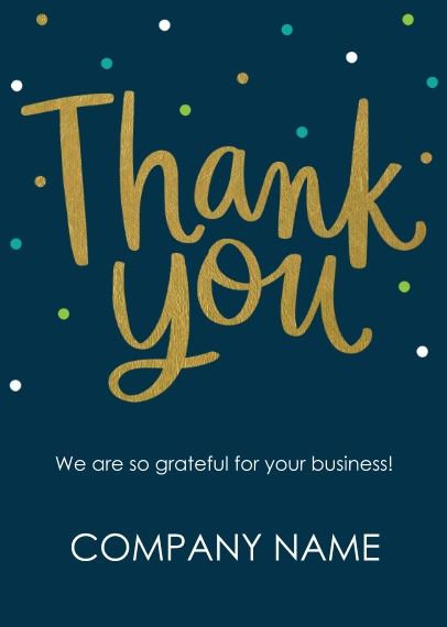 Thank you 5x7 Folded Business Greeting Card, Set of 20, Business Printing -Gold Thank You