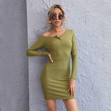 Strick figurbetontes Kleid mit halber Knopfleiste