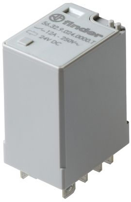 Finder , 110V dc Coil Non-Latching Relay DPDT, 12A Switching Current Plug In, 2 Pole