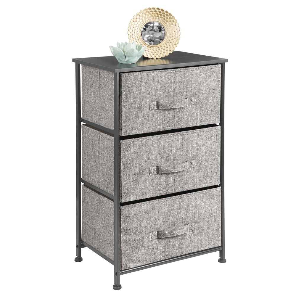 3 Drawer Fabric Storage Table Organizer Unit in Black/Graphite Gray, 12