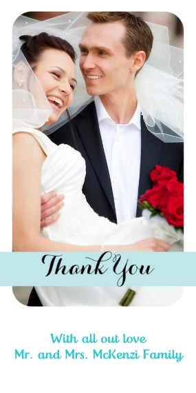 Wedding Thank You Flat Matte Photo Paper Cards with Envelopes, 4x8, Card & Stationery -Wedding Thank You