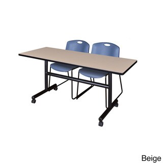 Kobe Blue/Black Wood/Laminate/Metal 60-inch Flip Top Mobile Training Table with 2 Zeng Stackable Chairs (Beige)