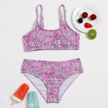 Girls Floral Print Bikini Swimsuit