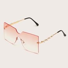 Randlose Sonnenbrille mit Strass Dekor