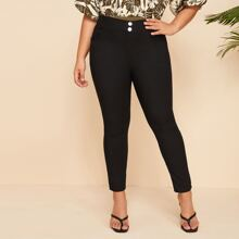 Plus Button Fly Solid Skinny Jeans