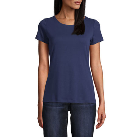St. John's Bay-Womens Crew Neck Short Sleeve T-Shirt, Medium , Blue