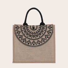 Geometric Print Linen Satchel Bag