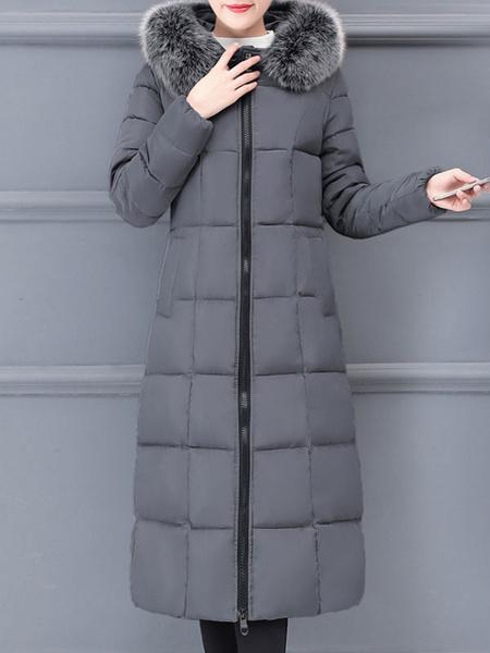 Milanoo Abrigos acolchados para mujer, rojo, largo, con capucha, cremallera, mangas largas, clasico, acolchado, abrigo de invierno, prendas de vestir