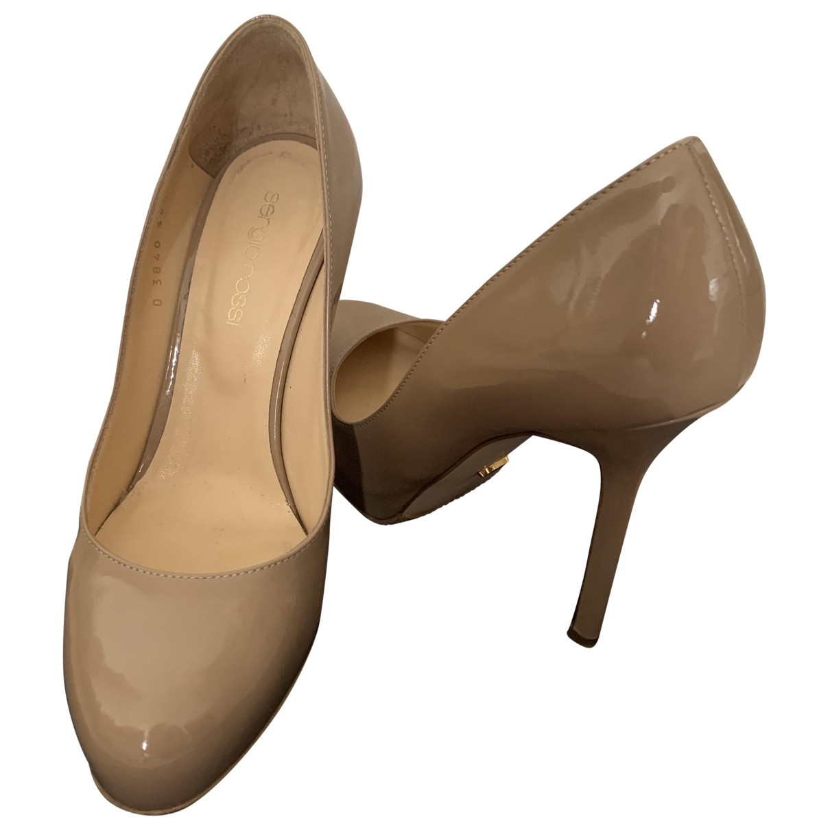 Sergio Rossi N Beige Leather Heels for Women 35.5 IT