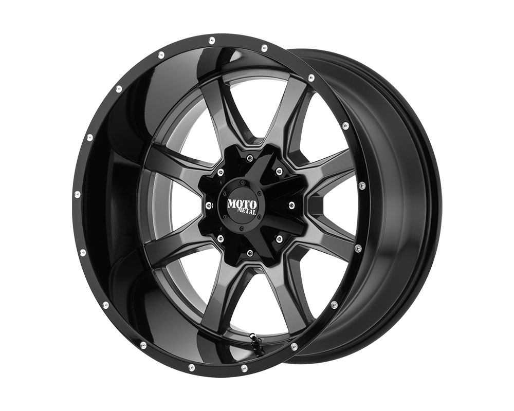 Moto Metal MO97021088418N MO970 Wheel 20x10 8x8x180 -18mm Gloss Gray Center Gloss Black Lip