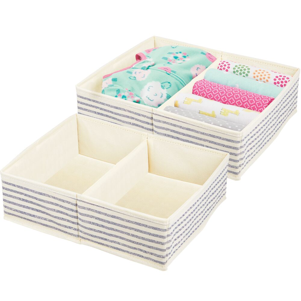 Large 2 Section Kids Fabric Dresser Drawer Organizer in Natural/Cobalt Blue Stripe, 12.375