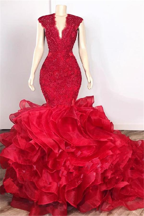 Glamourose Perlen Applikationen Rote Ballkleider | Rueschen Fit und Flare verfuehrerische Abendkleider
