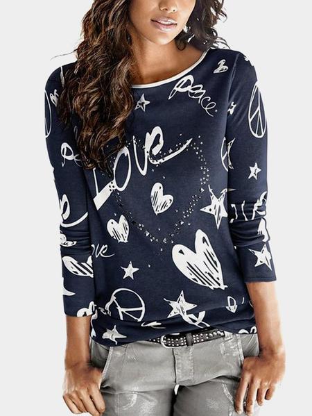 Yoins Navy Print Hot Drilling Round Neck Long Sleeves T-shirt