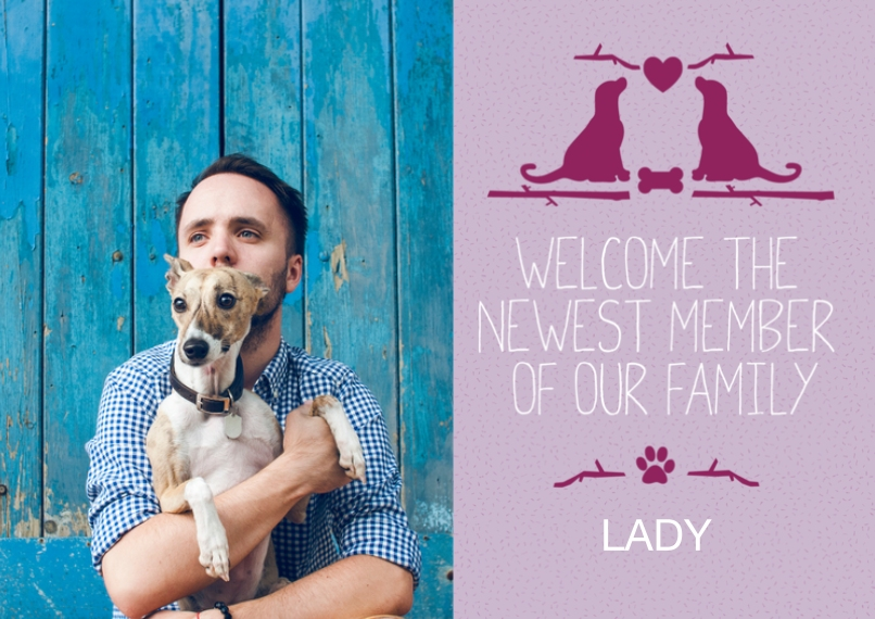 Adoption Announcements 5x7 Cards, Premium Cardstock 120lb with Elegant Corners, Card & Stationery -Woof Woof Adoption