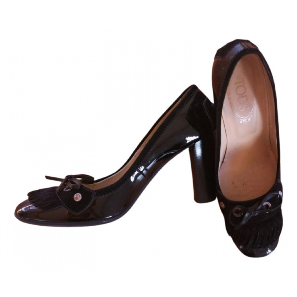 Tod's N Black Patent leather Heels for Women 38.5 EU
