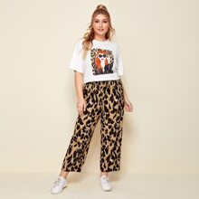 Plus Figure Graphic Tee & All Over Print Pants Set