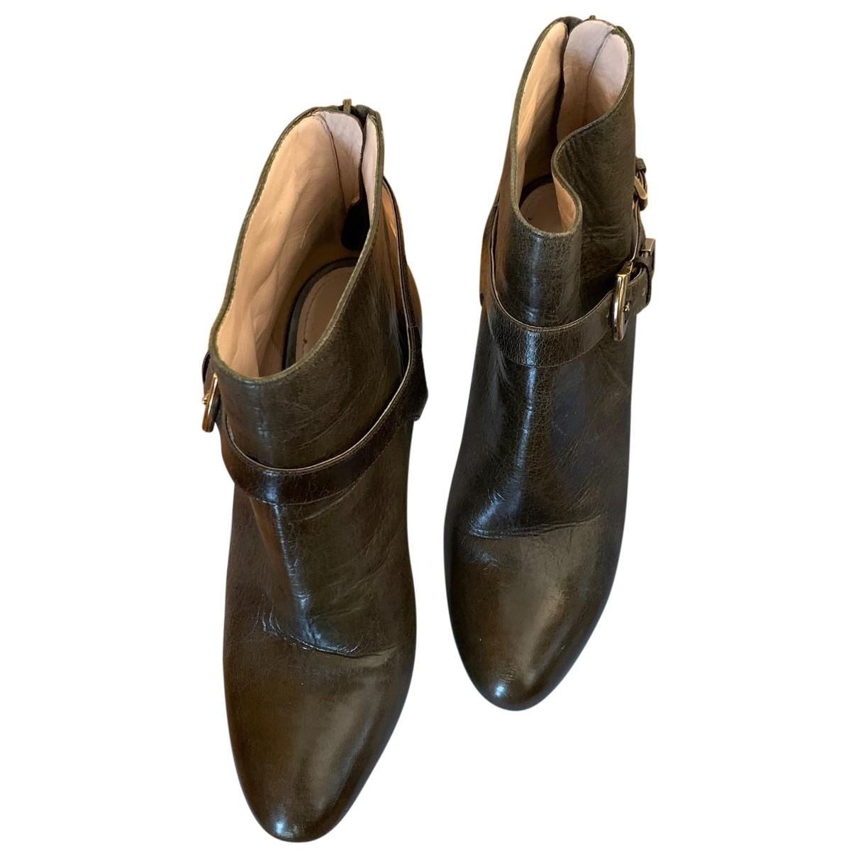Prada - Boots   pour femme en cuir - kaki