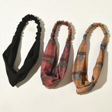 3pcs Plaid Headband