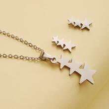 1 Stueck Halskette mit Stern Anhaenger & 1 Paar Ohrringe