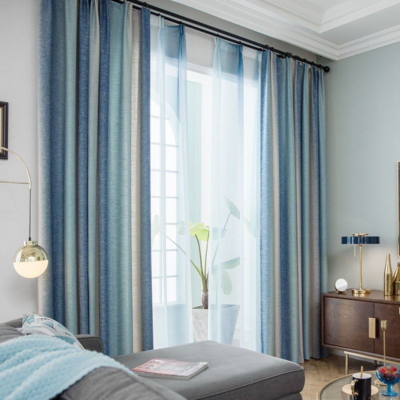 Nordic Style 100% Blackout Fibre Ombe Custom Grommet Curtains for Living Room Bedroom