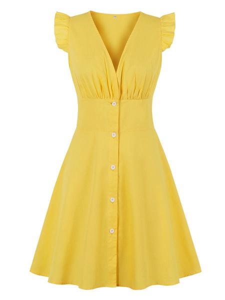 Milanoo Vestido vintage 1950 con cuello en v Botones amarillos Mangas cortas Hasta la rodilla Vestido Rockabilly