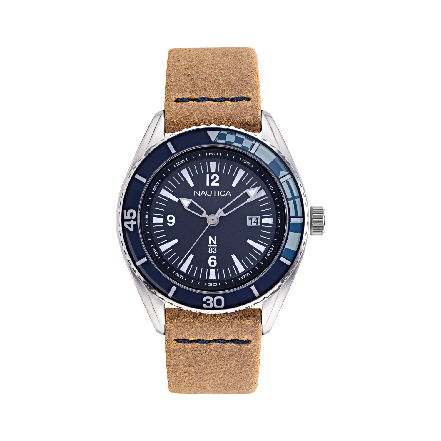 Nautica Mens Urban Surf NAPUSF910 Brown Leather Quartz Fashion Watch