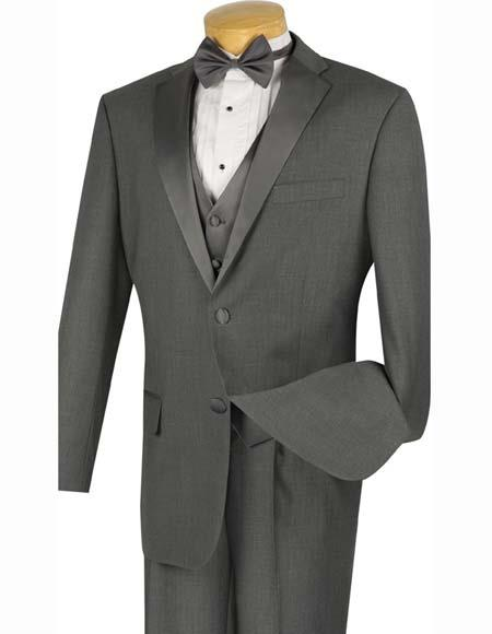 Charcoal Grey 4pc Two Buttons Tuxedo Bow Tie Pleated Pants Mens Suit