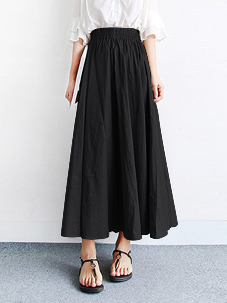 Solid Color Elastic Waist Casual Loose Skirt With Pocket