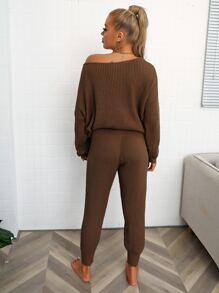 Drop Shoulder Batwing Sleeve Sweater & Pants Set