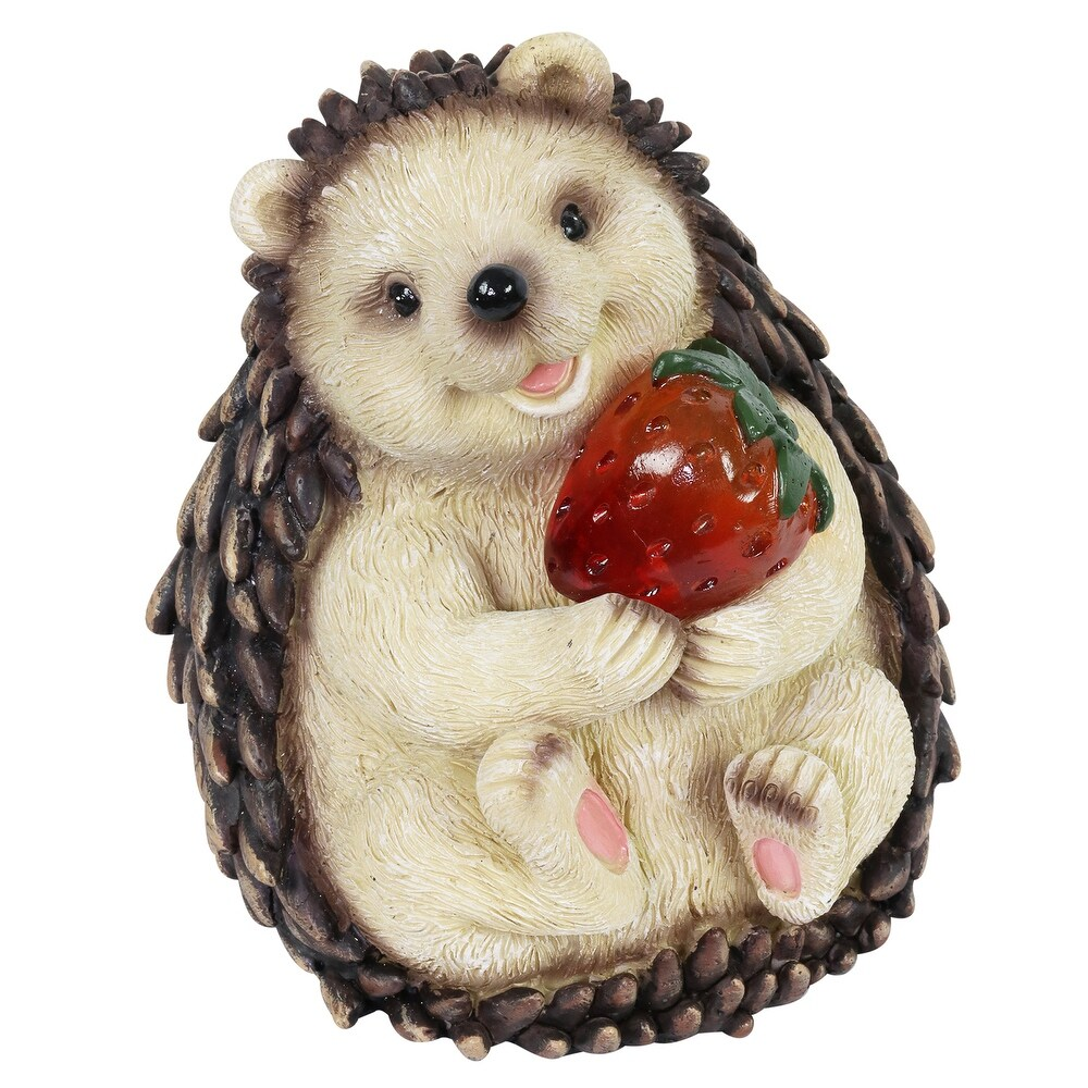 Exhart Solar Hedgehog Statue, 6 Inch (Country - No - All Seasons - Garden Statues - Resin - Multi - Assembled)