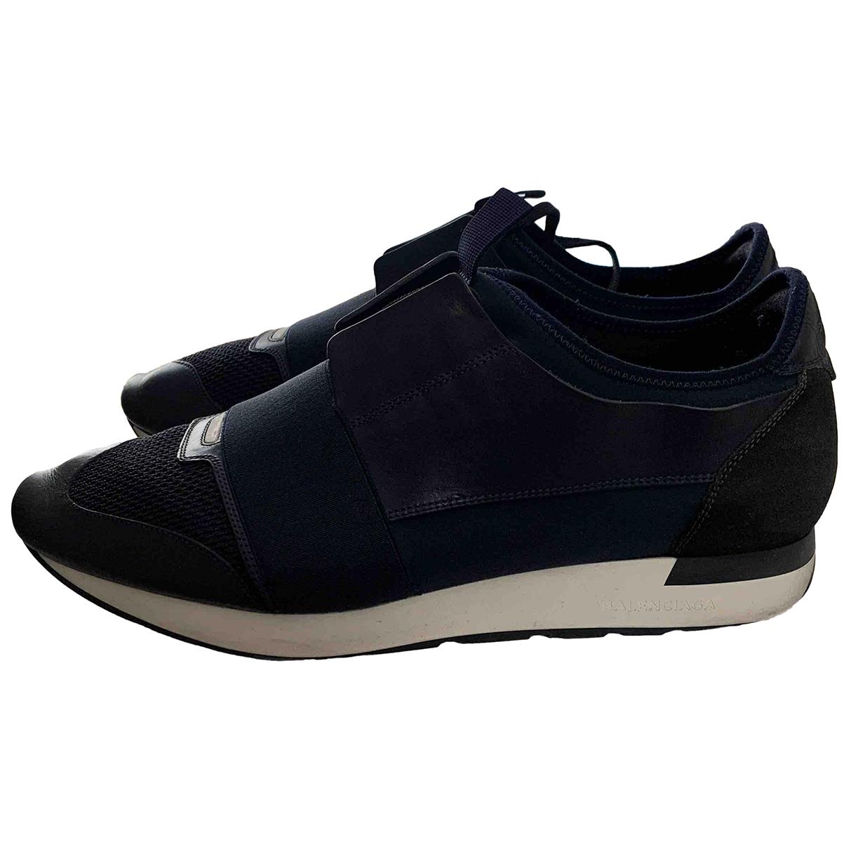 Balenciaga Race Sneakers in  Marine Leder