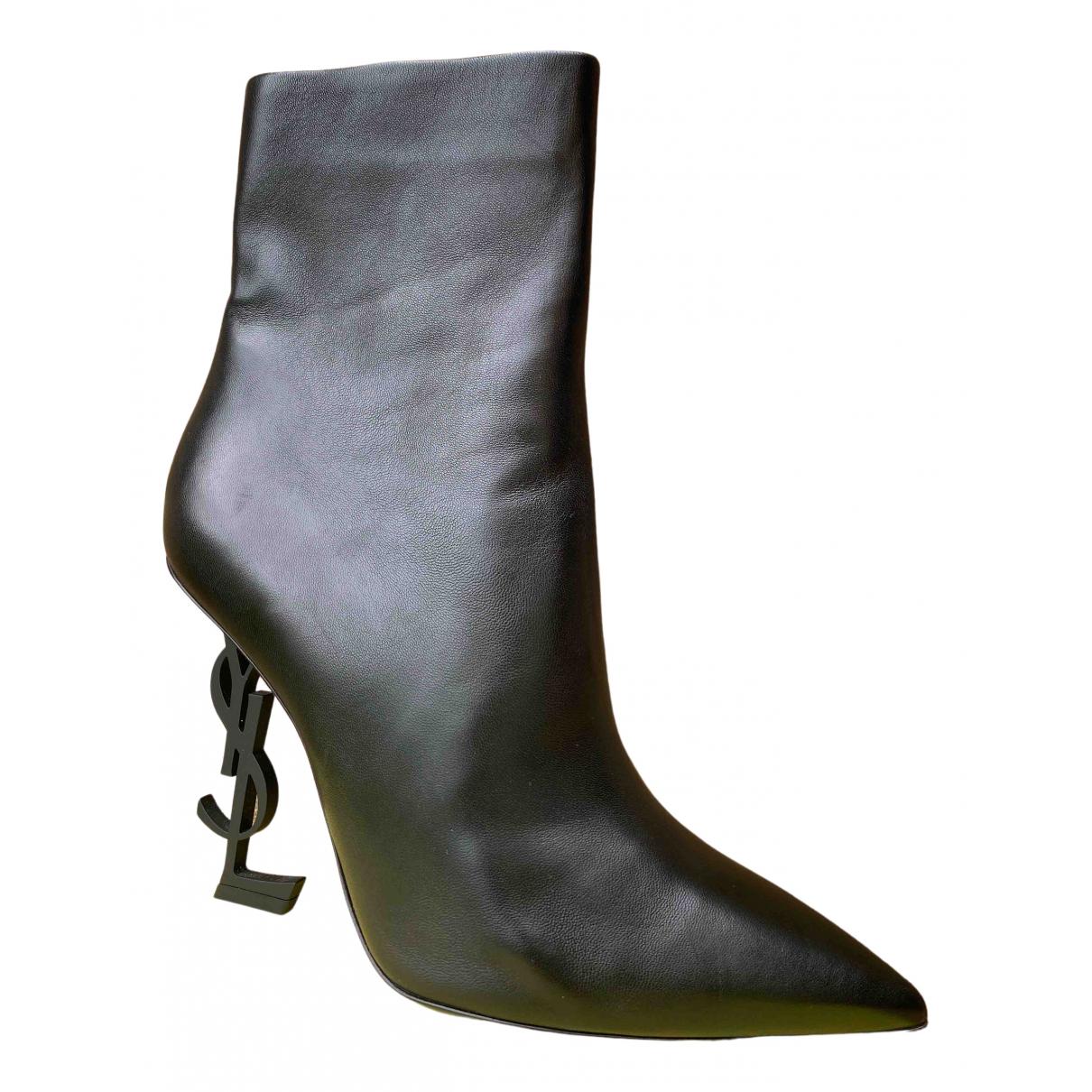 Saint Laurent - Boots Opyum pour femme en cuir - noir