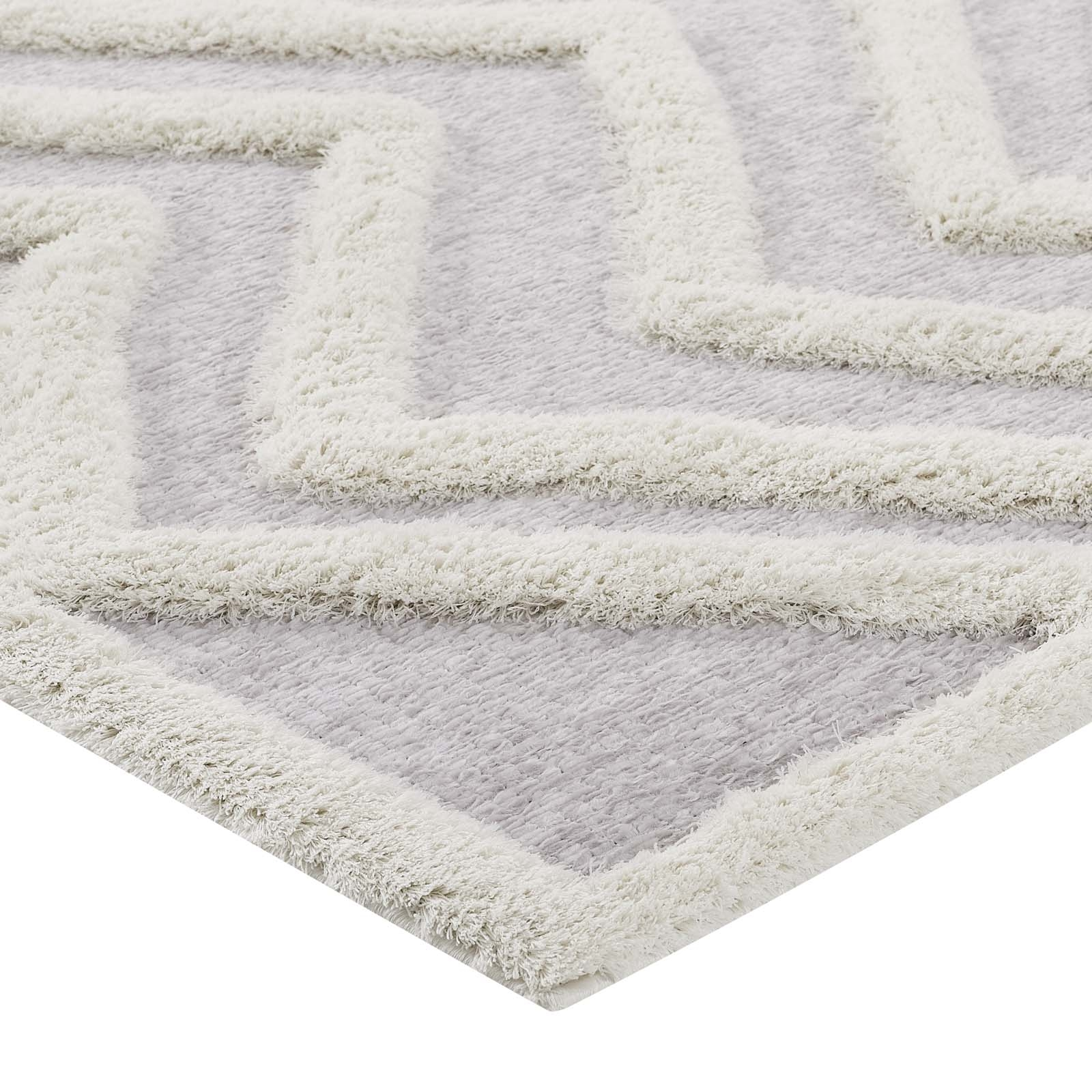 Whimsical Pathway Abstract Chevron 5x8 Shag Area Rug in Ivory and Light Gray