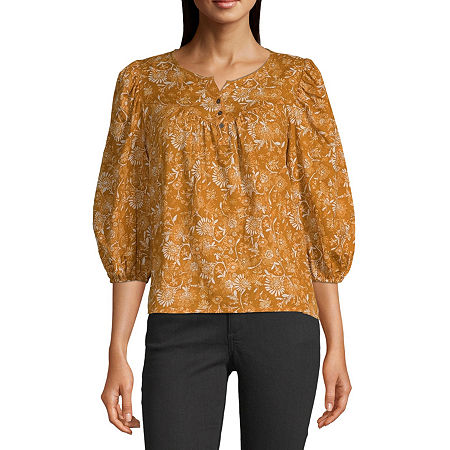 a.n.a-Tall Womens Henley Neck 3/4 Sleeve Peasant Top, Medium Tall , Orange
