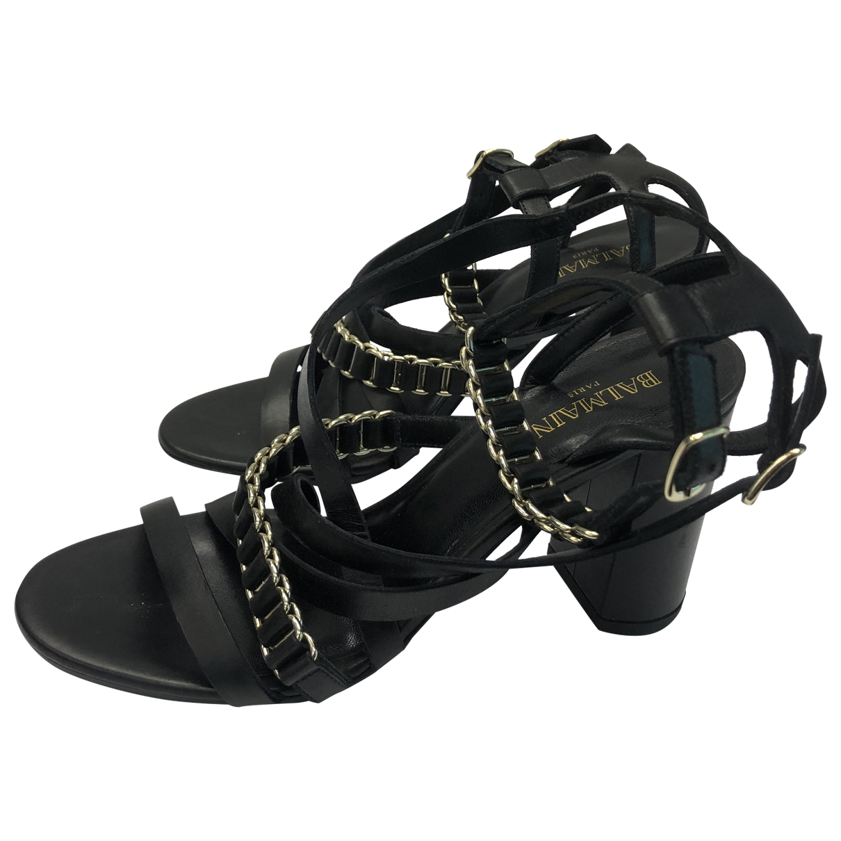 Balmain \N Black Leather Sandals for Women 36 EU