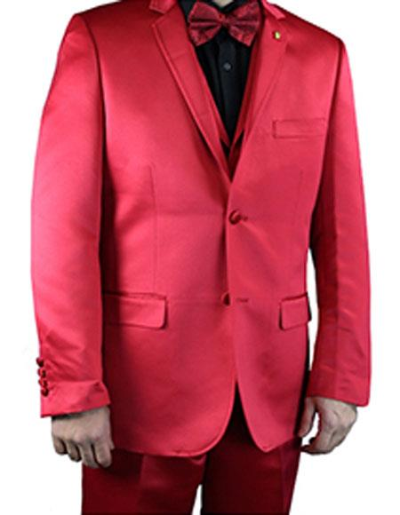 2 Buttons Notch Lapel Flat Front Pants Shiny Flashy red Mens suit