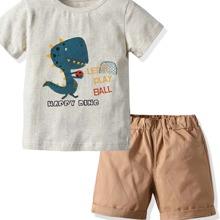 Kleinkind Jungen T-Shirt mit Karikatur & Buchstaben Grafik & Shorts